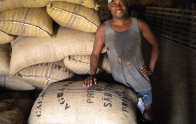 Cocoa sacks in Agua Izé