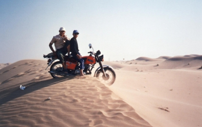 Bored youths in Kara Kum desert, Turkmenistan