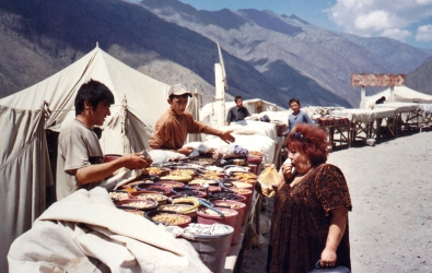 Fruit tasting in the fan mountains, Tajikistan