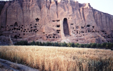 One of the two monumental buddha niches carved from sandstone cliffs in the sixth century ce the buddhas were dynamited by the taliban in 2001