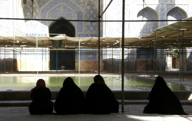 Four women rest at the Jameh mosque, Esfahan