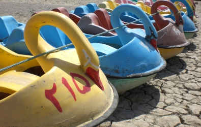 Pedalos on the dried Zayandeh river, Esfahan